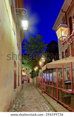Annecy old city street by night, France, HDR