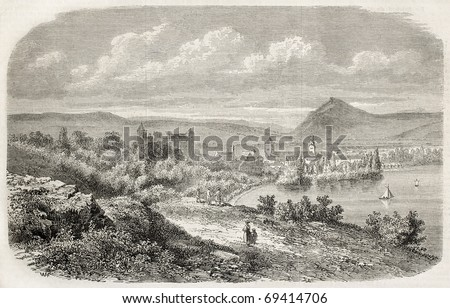 Annecy, the Alpine town in France on the shore of the lake bearing the same name. From drawing of Freeman after lithography by Cabaud, published on L'Illustration, Journal Universel, Paris, 1860 - stock photo