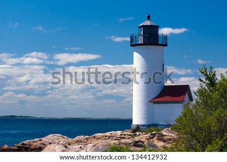 Annisquam Lighthouse in Massachusetts. Wigwam Point located near the current lighthouse, was once a gathering place for local Native Americans.  - stock photo