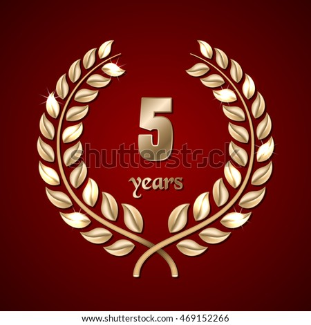 Anniversary golden laurel wreath on dark red background. Illustration
