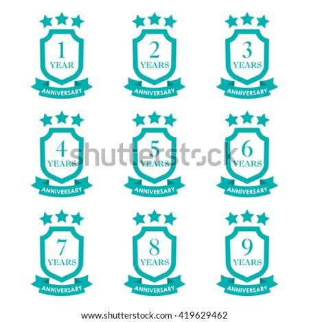 Anniversary icon set. Anniversary emblems with shield and ribbon. 1,2,3,4,5,6,7,8,9 years. Celebration, invitation and congratulation design element. - stock photo