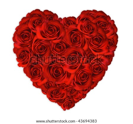 Anniversary or Valentine Heart Made Out of Roses on White Background - stock photo