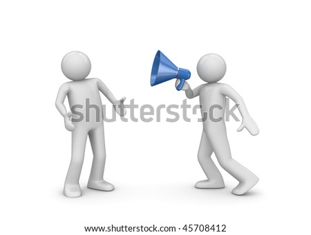 Announcement, news yelling (3d isolated characters, business series) - stock photo