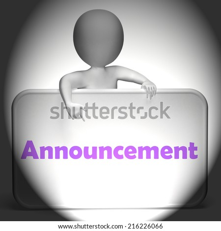 Announcement Sign Displaying Disclose Report Or State - stock photo