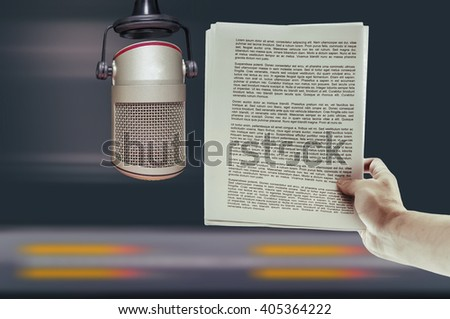 announcer and a microphone in the recording studio - stock photo