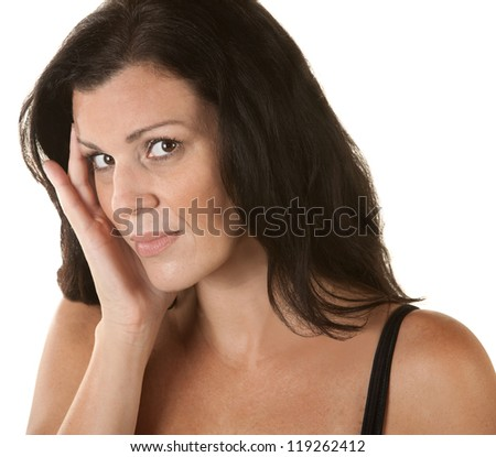 Annoyed woman with head on head over isolated background