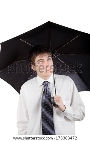 Annoyed Young Man with Umbrella Isolated on the White Background - stock photo