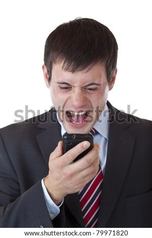 Annoyed young manager shouts aloud in cell phone.Isolated on white background.