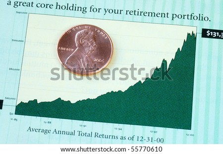 Annual investment return for the retirement portfolio - stock photo