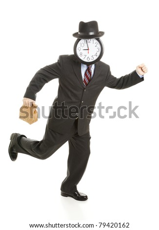 Anonymous businessman with a clock for a face, holding his lunch back and running.  Isolated on white. - stock photo