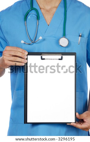 anonymous doctor whit notepad a over white background