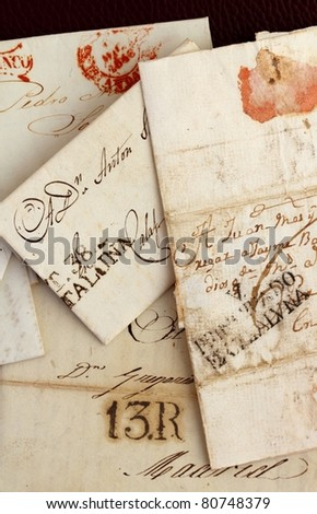 anonymous handwritten antique real old letters from Spain postmail - stock photo