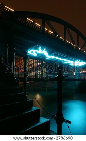 another bridge at the Speicherstadt, Hamburg - stock photo