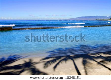 Another morning on Waikiki Beach - stock photo