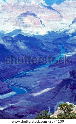 Another view of the Colarado river.Grand Canyon,National Park Arizona-s rim - stock photo