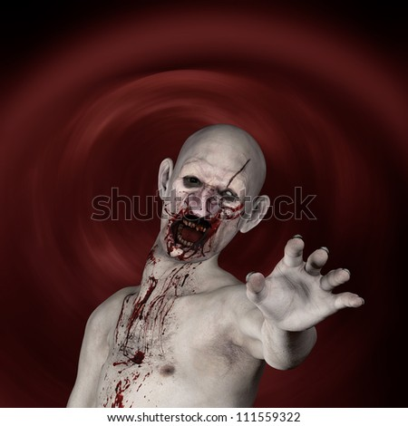 Another Zombie: Undead Zombie reaching out at you. - stock photo