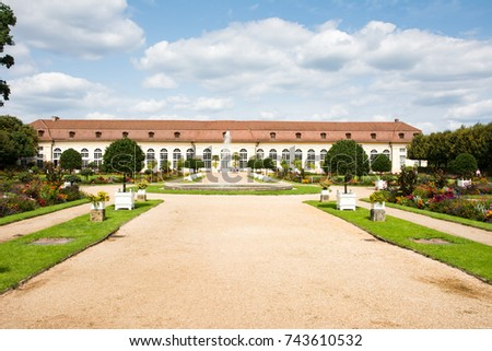 ANSBACH, GERMANY - AUGUST 22: The public Hofgartenpark and the Orangerie in Ansbach, Germany on August 22, 2017.