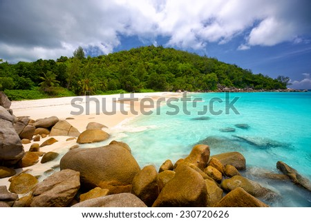 Anse Georgette beach in Praslin Island, Seychelles - stock photo