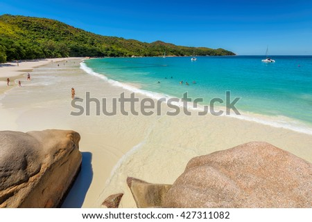 Anse Lazio ocean beach at Praslin island, Seychelles - stock photo