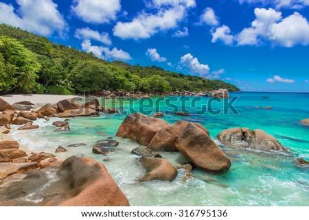 Anse Lazio - Paradise beach with granite stones in Seychelles, island Praslin - stock photo