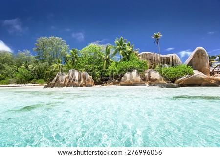Anse Source d'Argent beach, La Digue island, Seyshelles - stock photo