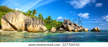 Anse Source d'Argent beach panorama, La Digue, Seyshelles - stock photo