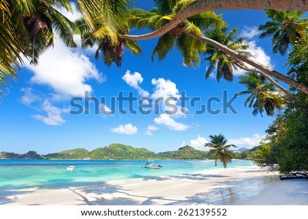 Anse Takamaka beach in Mahe Island, Seychelles - stock photo