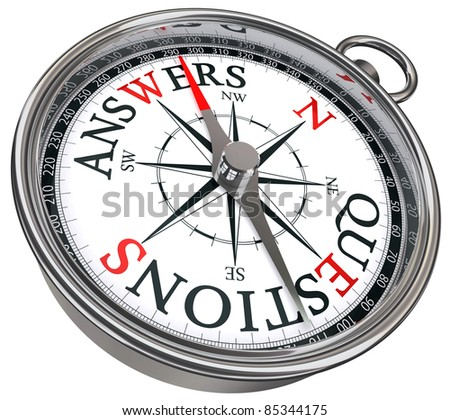 answers vs questions concept compass with black red letters isolated on white background