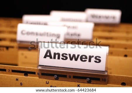 answers word on register or hanging folder showing solution concept - stock photo