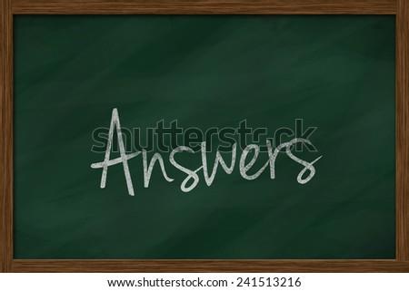 answers word written on chalkboard - stock photo