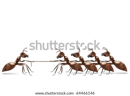 ant rope pulling business advantage or unbalanced fight concept unbalanced conflict out numbered - stock photo