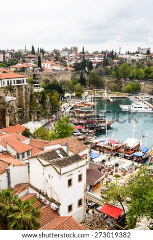 ANTALYA, TURKEY - APR 19, 2015: Aerial view of the Historic part of Antalya (Kaleici), Turkey. Old town of Antalya is a popular destination among  tourists