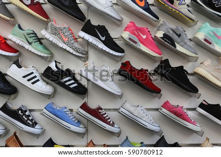 Antalya, Turkey - February 26, 2017 : Many shoes on shelf for sale in a shop on February 26, 2017.