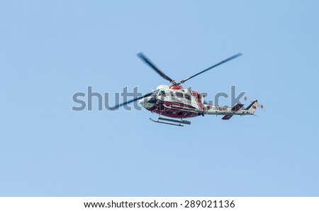 ANTALYA, TURKEY - June 7, 2015: Coast Guard Helicopter during parliamentary elections in Turkey June 7, 2015.