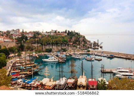 ANTALYA, TURKEY - NOVEMBER 8, 2016: Small marina in the historic Old Town of Antalya, known as Kaleici.