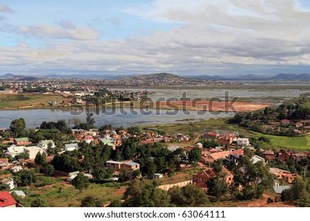 Antananarivo: residential suburb of Antananarivo, Madagascar. - stock photo