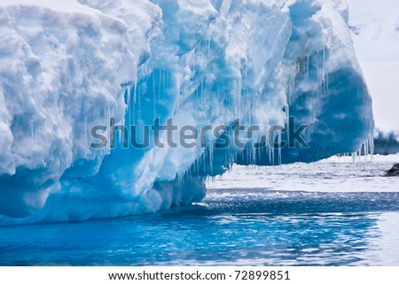 Antarctic Glacier with icicles - stock photo