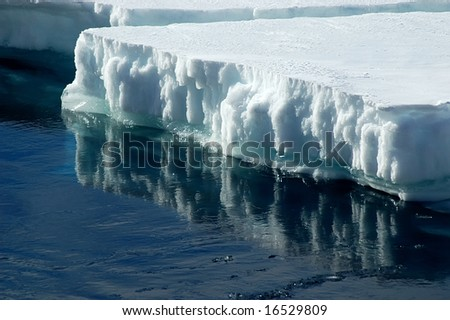 Antarctic ice floe with reflection - stock photo