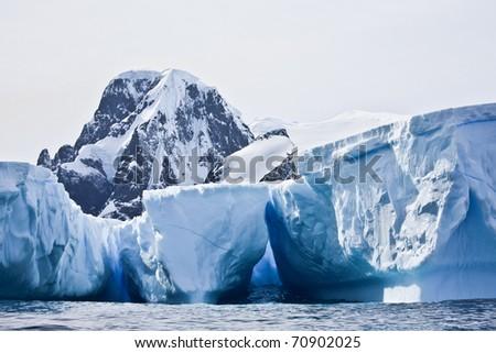 Antarctic icebergs in the snow - stock photo