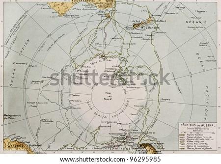Antarctic old map. By Paul Vidal de Lablache, Atlas Classique, Librerie Colin, Paris, 1894 - stock photo