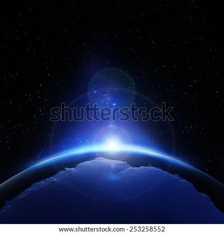Antarctic sunrise. Elements of this image furnished by NASA - stock photo