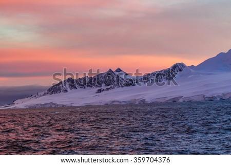 Antarctic Sunset - stock photo
