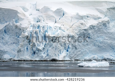 Antarctica - Coastline of Antarctica With Ice Formations - Antarctic Peninsula - Palmer Archipelago - Neumayer Channel - Global Warming - stock photo