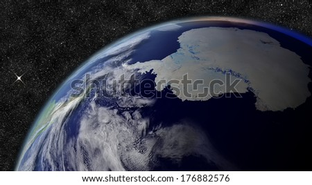 Antarctica from space. Elements of this image furnished by NASA. - stock photo