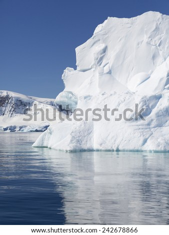 Antarctica. Ices and icebergs of various forms. - stock photo