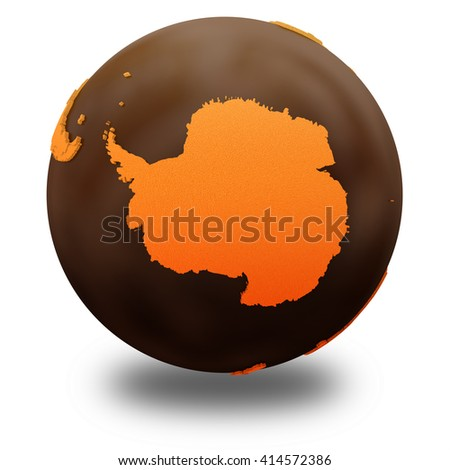 Antarctica on chocolate model of planet Earth. Sweet crusty continents with embossed countries and oceans made of dark chocolate. 3D illustration isolated on white background with shadow. - stock photo