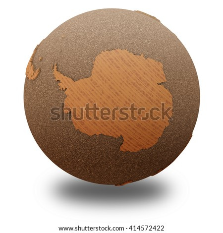 Antarctica on 3D model of wooden planet Earth with oceans made of cork and wooden continents with embossed countries. 3D illustration isolated on white background with shadow. - stock photo