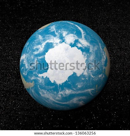 Antarctica on earth and universe background with stars - 3D render. Elements of this image furnished by NASA - stock photo