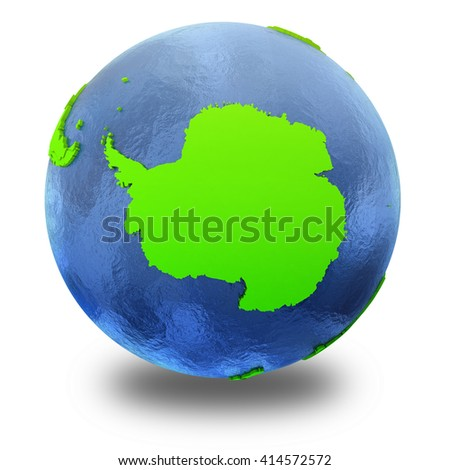 Antarctica on elegant green 3D model of planet Earth with realistic watery blue ocean and green continents with visible country borders. 3D illustration isolated on white background with shadow. - stock photo