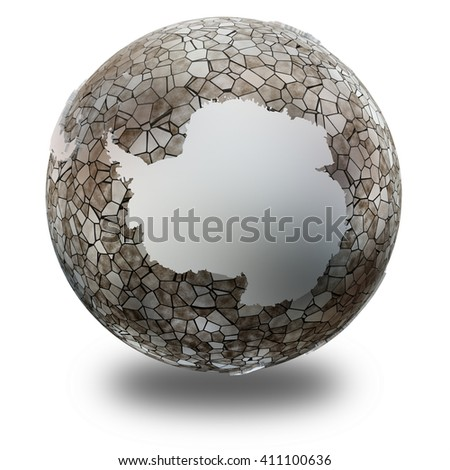 Antarctica on metallic model of planet Earth. Shiny steel continents with embossed countries and oceans made of steel plates. 3D illustration isolated on white background with shadow. - stock photo